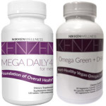 Nikken combines Mega Daily 4 for Men with Omega Green + DHA.