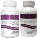Nikken combines Mega Daily 4 for Women with Omega Green + DHA.