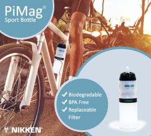 The PiMag Sport Bottle is biodegradable, BPA free, and has a replaceable filter