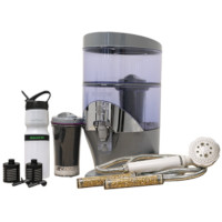 Nikken Water pack contains PiMag Waterfall, filtered water bottle, hand-held filtered shower wand and extra filter cartridges for each.